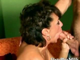 Horny mature slut in fishnet stockings
