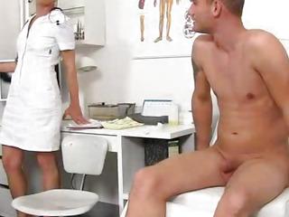 Gorgeous european milf Beate medical hanjob and cum on tits