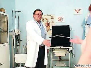 Ugly redhead woman hairy vagina examination