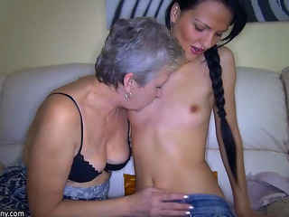 Old Mature StepMom teaches young Girl how to fuck