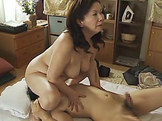Obese Aged Japanese Chizuru Iwasaki Ravishing a Shlong