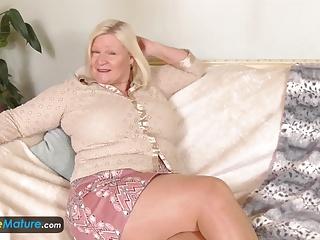 EuropeMature Breasty granny Lacey has moist vagina