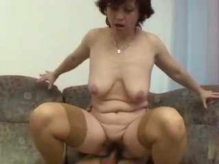 granny gets her hairy pussy stretched