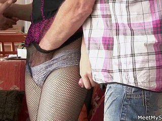 Old mom and dad seduce and bang their son's GF