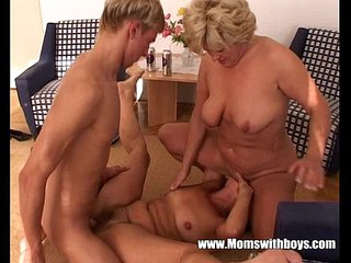 Threesome With Two Grannies And A Young Stud