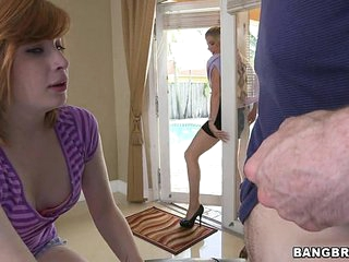 Redhead Teen and Blonde Mother